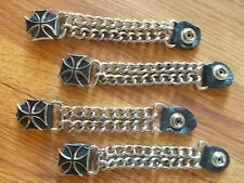 4 pc~LEATHER~and~CHAIN~BLACK MALTESE CROSS~VEST~EXTENDERS~BIKER~MOTORCYCLE~RODEO