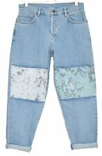 Topshop BOUTIQUE Boyfriend Blue FLORAL Tapered Slouch Crop Jeans Size 12 W30