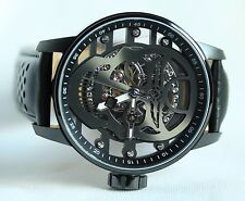 Invicta S1 Rally Mens Mechanical Gunmetal Skull Dial Black Leather Strap Watch