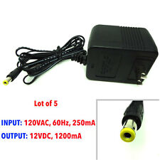 [Lot of 5] AC adapter 120VAC, 60Hz, 250mA,12VDC, 1200mA, 12 V 1.2A NEW