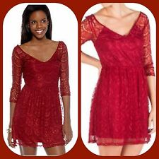 new $128 JESSICA SIMPSON red wine lace fit flare  dress m