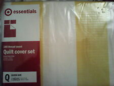 Yellow white striped target queen bed quilt doona cover set poly cotton 180tc