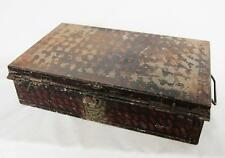 ANTIQUE MASONIC TIN BOX with LITTLE BRITAIN BRASS LABEL hat suitcase trunk case