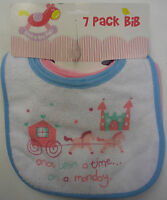 Babies Girls Velcro Waterproof Back Bibs Bib Set Of 7 Pack Days Of Week Monday