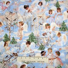 Christmas Religious Fabric - Winter Angels Light Blue - Timeless Treasures YARD