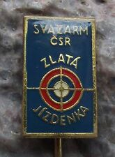 Svazarm Czech Military Army Reserve Marksman Shooter Golden Ticket Pin Badge