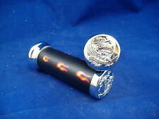 FLAME BLACK AND CHROME EAGLE END BICYCLE HANDLEBAR GRIPS LOW RIDER BEACH CRUISER