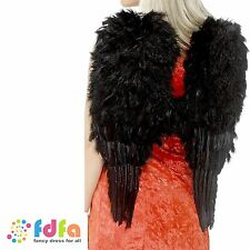 BLACK FEATHER ANGEL WINGS 50cm x 60cm - ladies xmas fancy dress costume