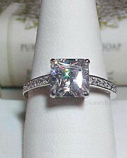 1.75 CT PRINCESS CUT SIMULATED 925 STERLING SILVER RING SIZE 9