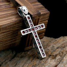 Elegant Mens Womens Garnet Gem Cross 925 Sterling Silver Pendant With Rope Chain