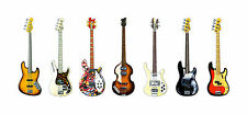 BASS GUITAR Panorama STAMPA. 7 famoso Bass Guitars