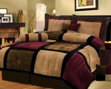 7 Piece Burgundy Brown Black Bed in a Bag Micro Suede Queen Comforter Set
