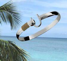 6mm .925 Sterling Silver & 14K Gold ST. CROIX Caribbean Hook Bracelet - 7
