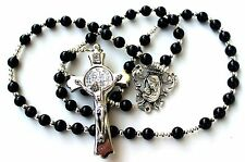 Durable Men's or Women's Onyx Agate Catholic Rosary, Silver St. Bendict Crucifix