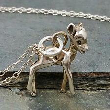 Fawn Necklace - 925 Sterling Silver - 3D Deer Bambi Pendant Charm Jewelry NEW