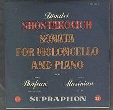 SUPRAPHON LPM 304 SHAFRAN - SHOSTAKOVICH - SONATA FOR VIOLONCELLO & PIANO