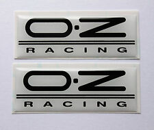 OZ racing stickers/decals 2 x 63mmx23mm black/white-HIGH GLOSS DOMED GEL FINISH