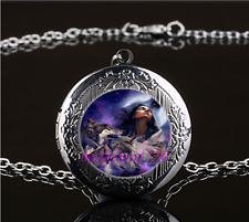 Tribe Woman And Wolf Photo Glass Gun Black Chain Locket Pendant Necklace#ff8