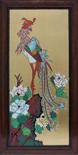 Großes Bild mit Vogel und Blüten Lackmalerei Blattvergoldung, wohl China, 20.J