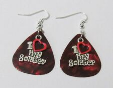 I Love My Soldier Charm on Red Pearlized Guitar Pick Hook Earrings