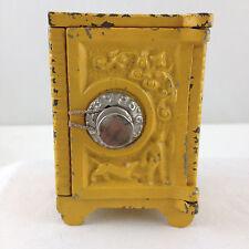 1910-1920's YELLOW IRON & TIN BOY W/ DOG TOY SAFE BANK, GRAY IRON CO MT. JOY, PA