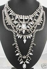 Newest Design huge Lady Statement clear crystal chunky chain charm necklace 1012