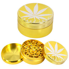 GOLD LEAF GRINDER 3 PART 50 MM TOBACCO CRUSHER WEED HERBS STORAGE POLLINATOR NEW