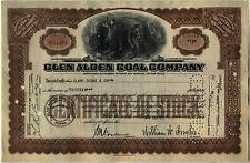 Glen Alden Coal Company Stock Certificate Brown Pennsylvania