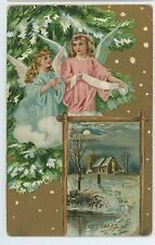 A Merry CHRISTMAS Two Angels with Tree, Snow Scene Church Vintage Postcard