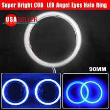 US 2X 100mm Ultra Blue 117 COB LED 12-24V Angel Eyes Halo Ring Fog Housing Lamp