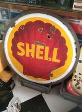 Original RARE Shell Gasoline Oil Enamel Porcelain Double Sided Sign