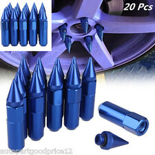 JDM 20 BLUE SPIKED 60MM ALUMINUM EXTENDED TUNER LUG NUTS FOR WHEELS/RIMS M12X1.5