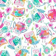 Fabric Owls Baby Pastel Tye Dyed Whoo Tossed on White Cotton by the 1/4 yard BIN
