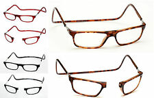 +3.00 Magnetic Reading Glasses Front Click Close Tortoiseshell Hornrim Brown +3