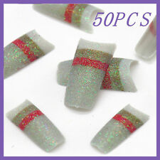 50pcs Silver Red Stripe Glitter French False Nail Tips FN0068+1 Free Glue