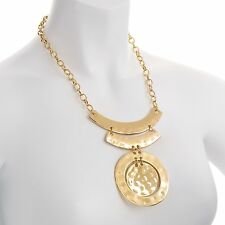 Large shiny gold colour hammered finish circular pendant belcher necklace