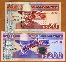 Specimen Set, Namibia, 20;200 Dollars (1996), P-5s-10s, UNC    Signature 2