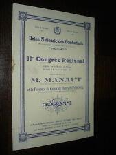 PROGRAMME 11e CONGRES REGIONAL DES COMBATTANTS 1930 - M Manaut - Béziers Hérault