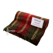 EDINBURGH - PURE WOOL SCOTTISH TARTAN RUG / BLANKET / THROW - DARK MAPLE