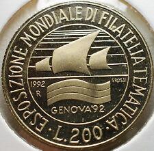 1992   Repubblica Italiana   200  lire  FONDO SPECCHIO  da divisionale