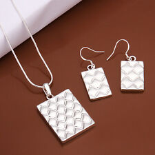 925Sterling Silver Pineapple Scale Square Men Women Necklace Earrings Set ZS497