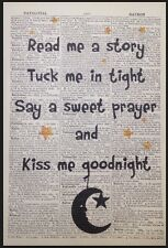 Vintage Nursery Print Picture Wall Art Dictionary Page Kiss Me Goodnight Baby
