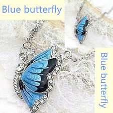 Fashion Charm Crystal Butterfly Pendant Necklace Blue Dual Chain Gift hot!