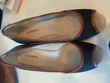 """G. H. Bass Black Cloth Open Toe 3.5"""" Rope Wedges 6.5M Hardly Worn"""