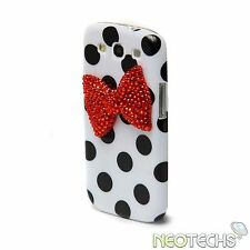 Polka Dot & 3D Bow Rhinestone Diamond Bling Crystal Case Samsung Galaxy S3 i9300