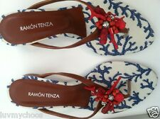 *RAMON TENZA*CORAL RED BLUE WHITE SANDALS~SIZE 6M~LEATHER SOLE~SPAIN~NEW IN BOX~