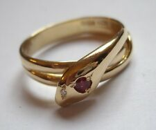 Antique Hallmarked 18ct 18k Gold Snake Ring Ruby Head