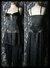 Gothic Long Black Satin Lace DARK ANGEL Lace Up Corset Dress 8 10 Victorian