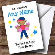 Asian Félicitations Nouveau Bébé deux sœurs jumelles filles personnalisé frère carte