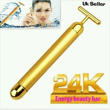 DERMA ROLLER 24k GOLD BEAUTY BAR Facial Massage Skin Lifting Wrinkle Treatment